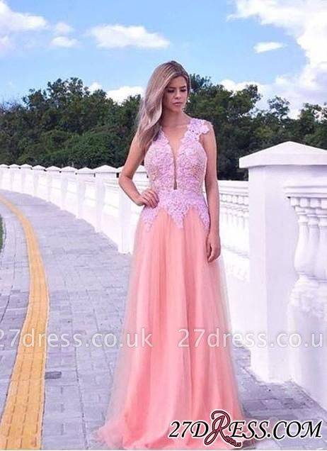 V-neck A-line Appliques-lace Tull Sweep-train Sleeveless Evening Dress UK
