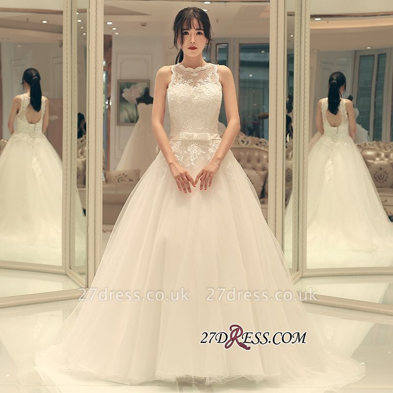 Sweep-train Elegant A-line Bow Lace-up Sleeveless Wedding Dress