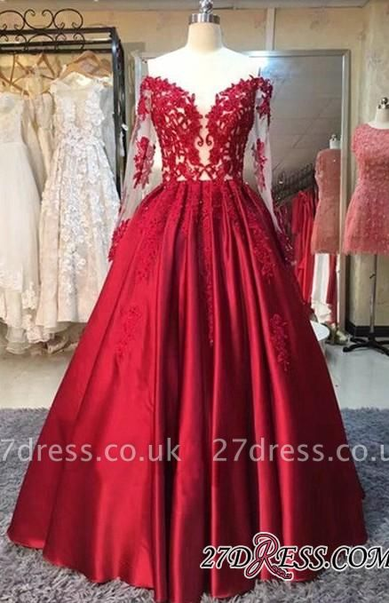 Lace-Appliques Off-the-Shoulder Puffy Red Long-Sleeves Prom Dress UKes UK BA5004