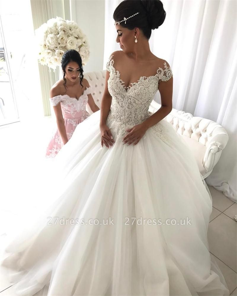 Princess tulle wedding dress, bridal gowns with beads