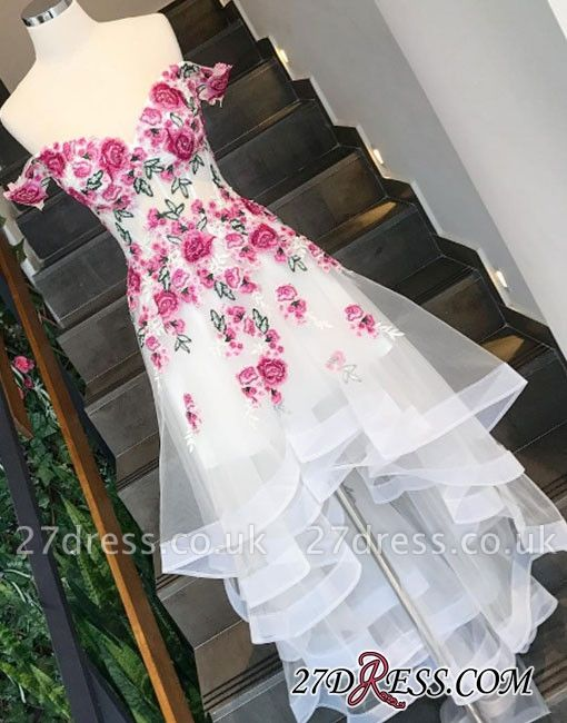 Applique High-low Tiered Off-the-shoulder White A-line Evening Dress UK