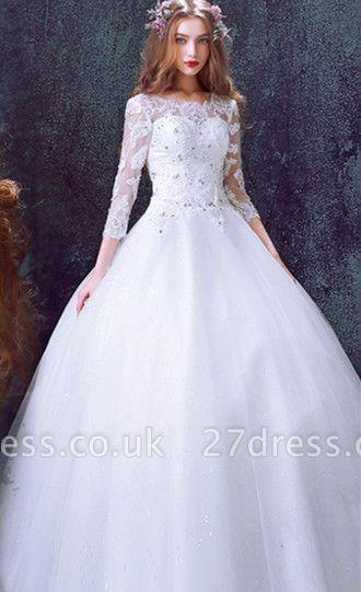 Romantic Tulle Lace Beadss Wedding Dress 3/4-Long Sleeve Princess