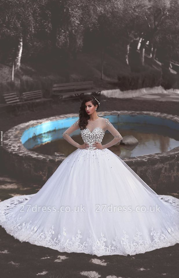 Newest Crystals Tulle Lace Illusion Wedding Dress Long Sleeve Ball Gown