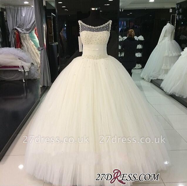 Tulle Sleeveless Beadss Gorgeous Princess Pearls Wedding Dress