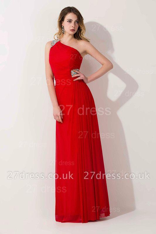 Elegant Chiffon A-line Chiffon Evening Dress UK One Shoulder Crystals
