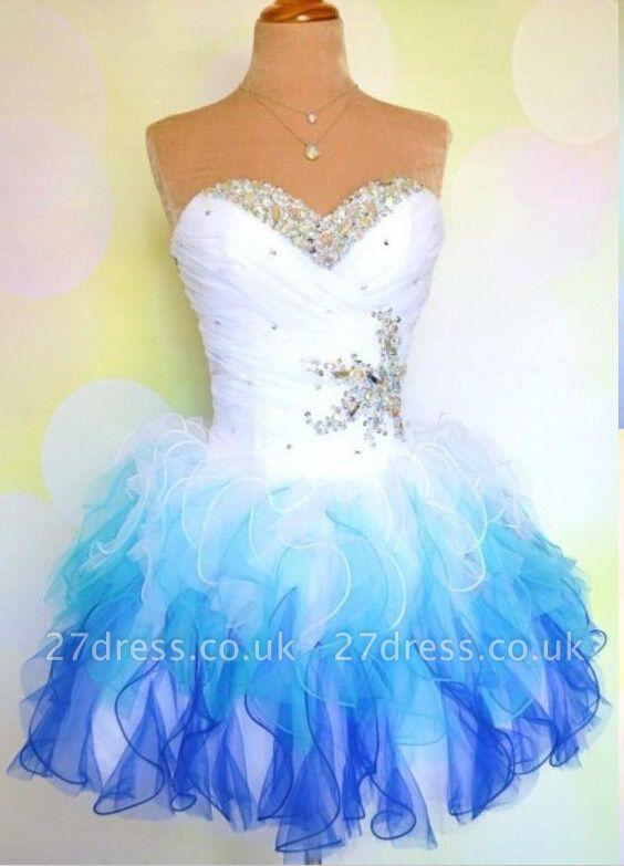 Lovely Sweetheart Sleeveless Short Homecoming Dress UK With Ruffles Beadings BA7709