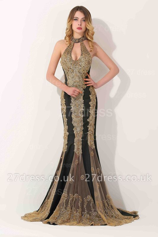 Gorgeous High-Neck Backless Evening Dress UK Mermaid With Appliques Beadings