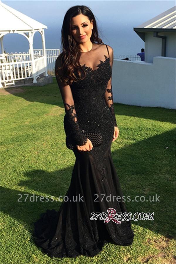 Long-Sleeve Tulle Black Applique Mermaid Elegant Evening Dress UKes UK BA3566