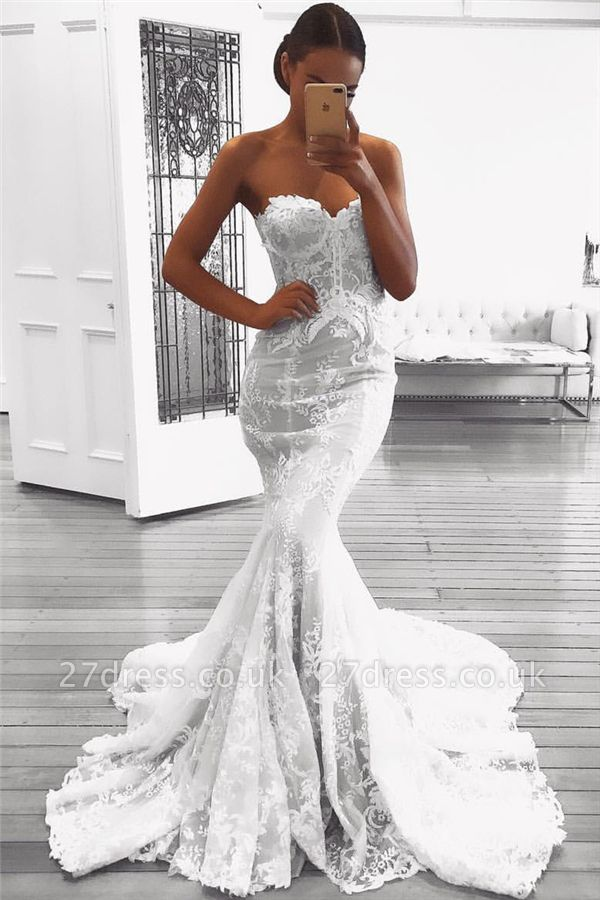 Sexy Mermaid Lace Wedding Dresses UK with Court Train | Strapless Cheap Bridal Gowns