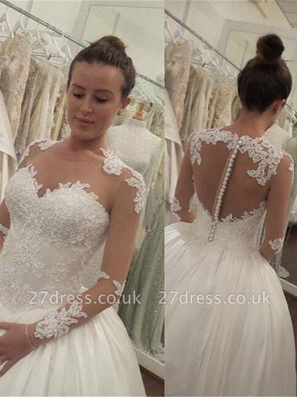Elegant Lace Appliques Tulle Wedding Dress Button Zipper Back