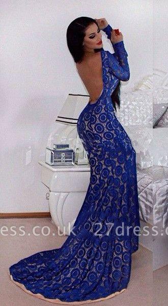 Gorgeous Long Sleeve Blue Prom Dress UKes UK Mermaid Lace Open Back