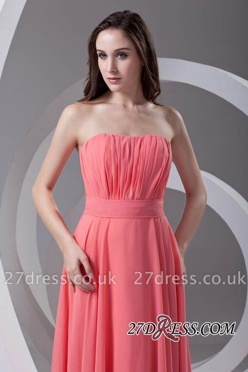 Chiffon Long Watermelon Ruched Strapless Sexy Bridesmaid Dress UK