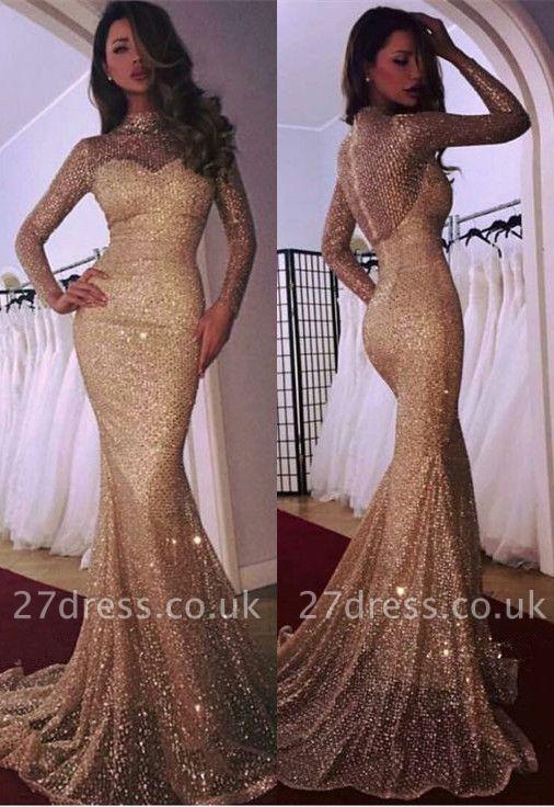 Gorgeous Long Sleeve Evening Dress UK   2019 Mermaid Prom Dress UK With Sequins