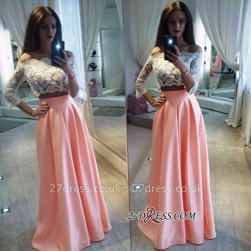 A-Line Pink Lace Sexy Off-the-Shoulder Two-Pieces Prom Dress UK