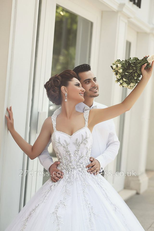 Delicate Strap Tulle Wedding Dress Beadss Appliques Ball Gown