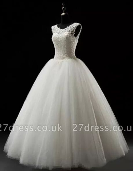 Simples A-Line Lace Wedding Dresses UK Lace-up Floor Length Bridal Gowns