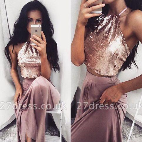 Long Halter-Neck Glossy Sleeveless Two-Piece Sequins Prom Dress UKes UK BA4434