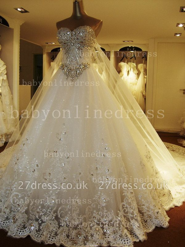 Beads White Lace Wedding Dresses UK Wholesale Topped Sweetheart Lace Cathedral Train Gowns