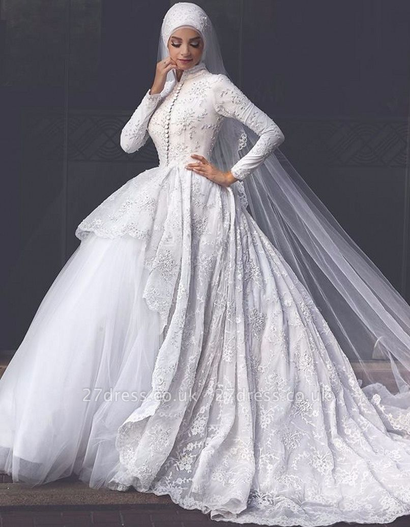 Elegant High Neck Wedding Dresses UK Lace Long Sleeves Muslim Bridal Gowns