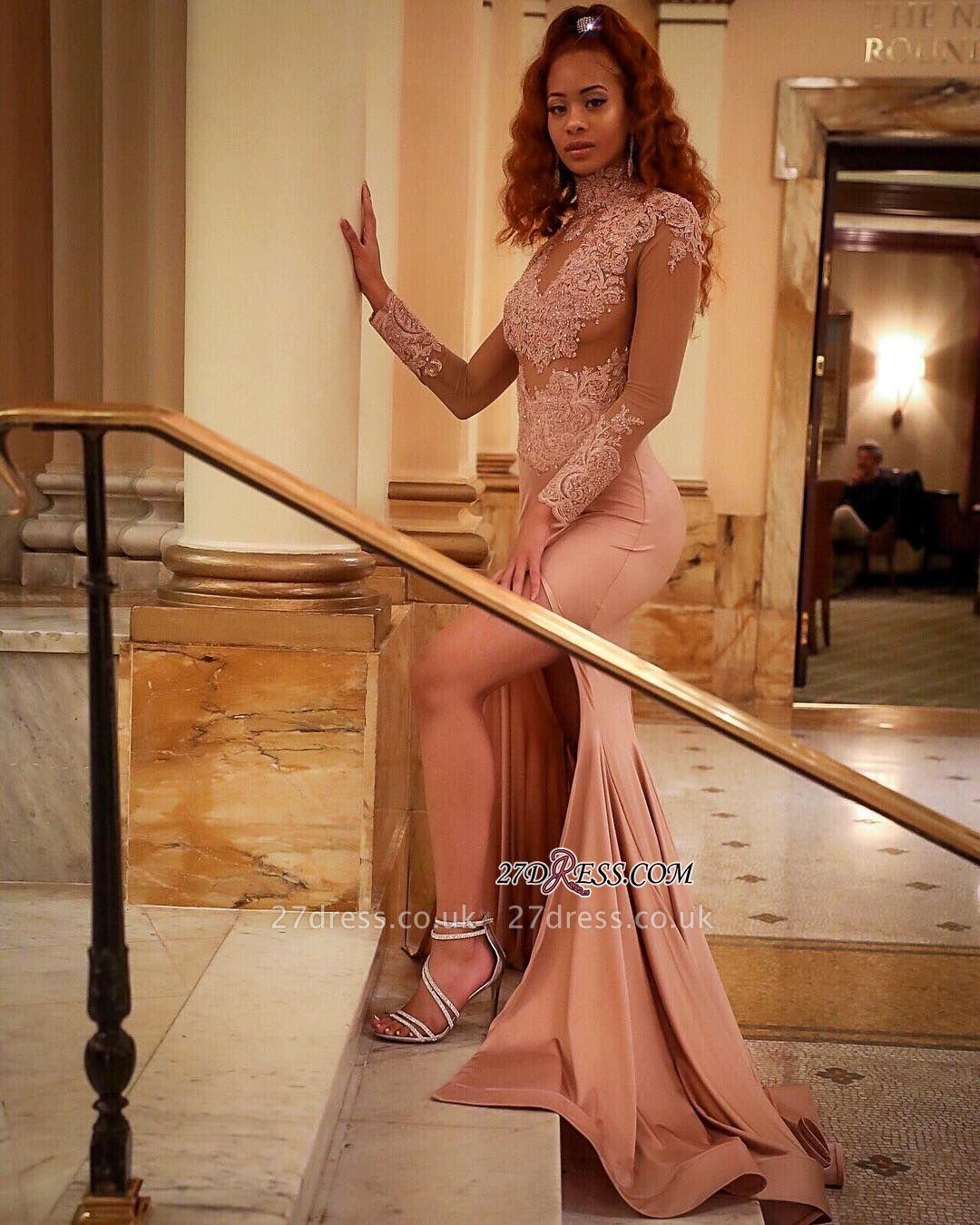 Luxury Long-Sleeve High-Neck Evening Dress UK   Mermaid Lace Prom Dress UK