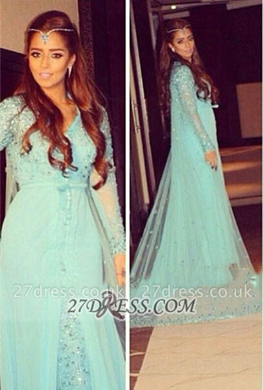 Gorgeous v-neck Long Sleeve Tulle Prom Dress UK With Beadings Crystals