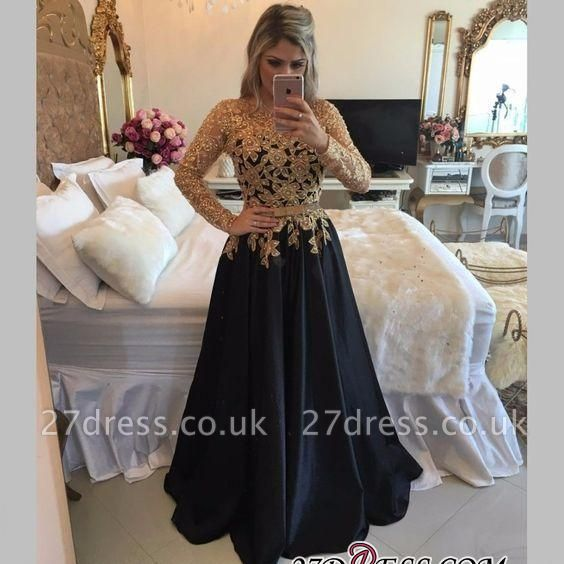 Lace Black Puffy Pearls Gold Long-Sleeves Appliques A-line Prom Dress UKes UK LY146