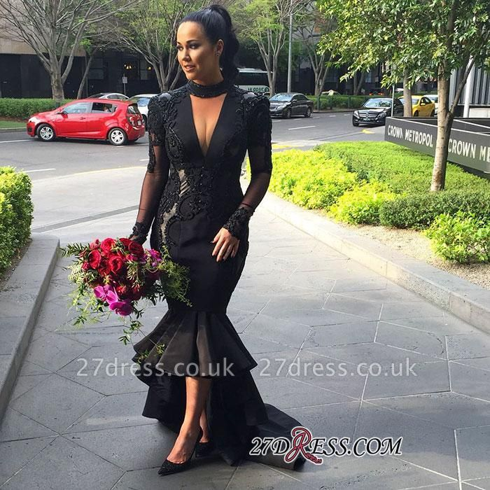 Deep-V-Neck Mermaid Long-Sleeves Lace Appliques Puffy Hi-lo Black Prom Dress UKes UK