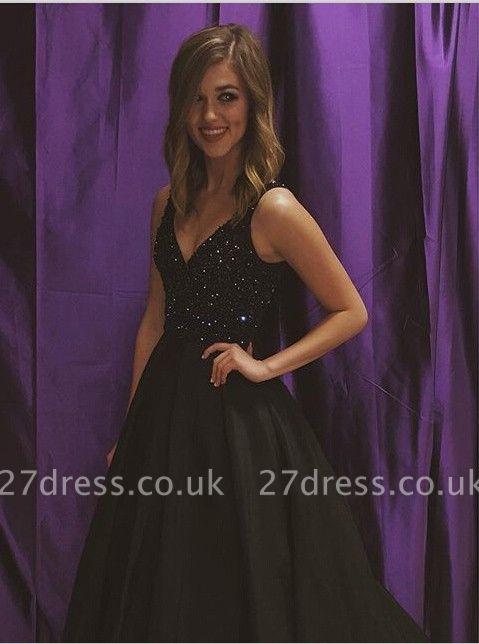 Elegant Black V-Neck Sleeveless Prom Dress UKes UK Beadings Sequins A-Line BA7743
