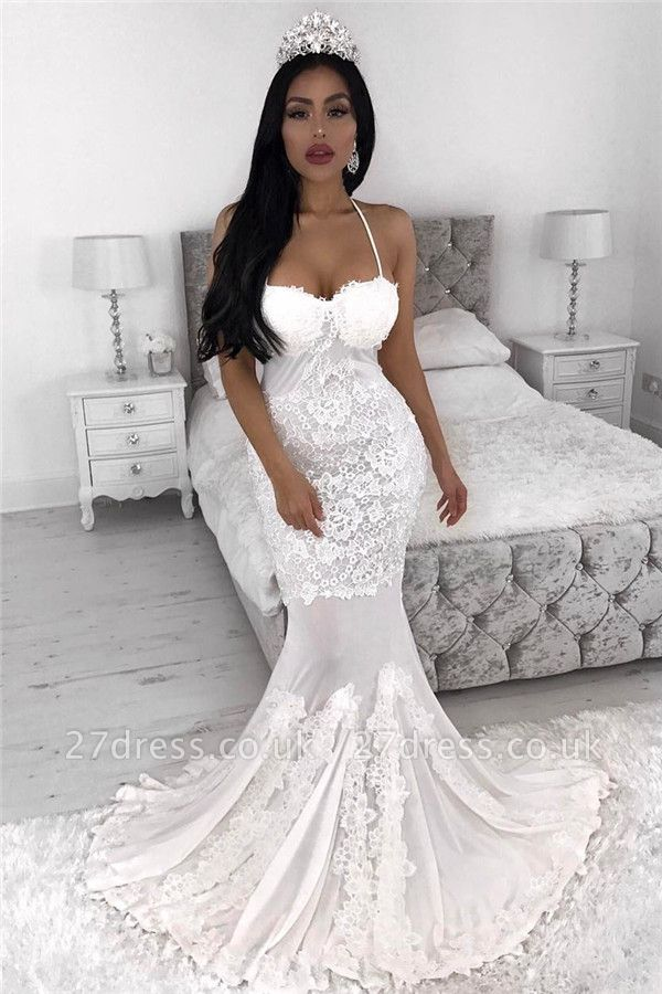 Straps  Sexy Mermaid Wedding Dresses UK | Lace Appliques Cheap Wedding Dress