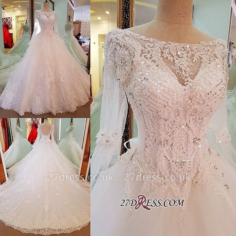 Sequins Lace Long-Sleeves Sweep-Train A-line Wedding Dress