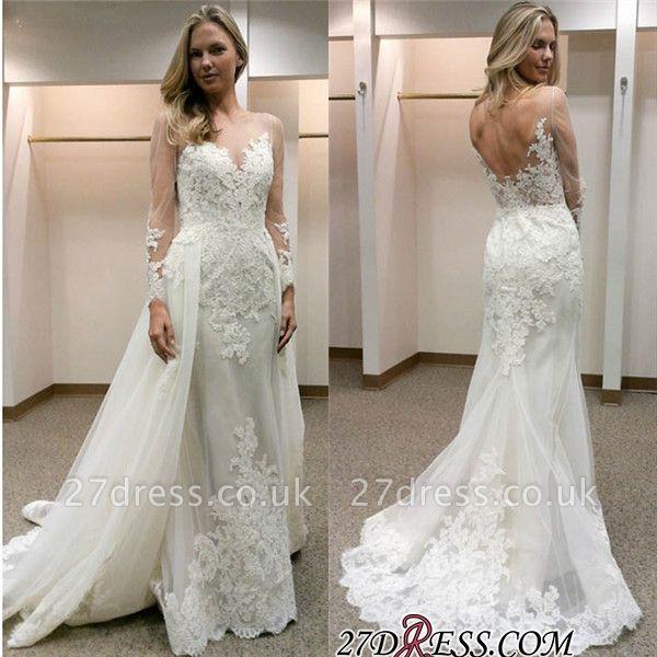 Simple Tulle Appliques Sheath Open-Back Long-Sleeves Wedding Dress