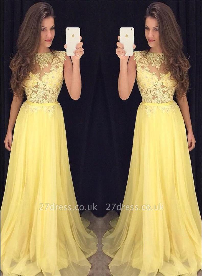 Sexy Yellow Lace Evening Dress UK Long Chiffon Lace Appliques AP0