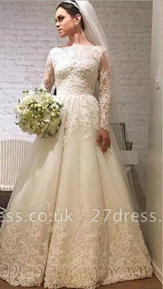 Elegant Lace Appliques Tulle Wedding Dress Long Sleeve A-line