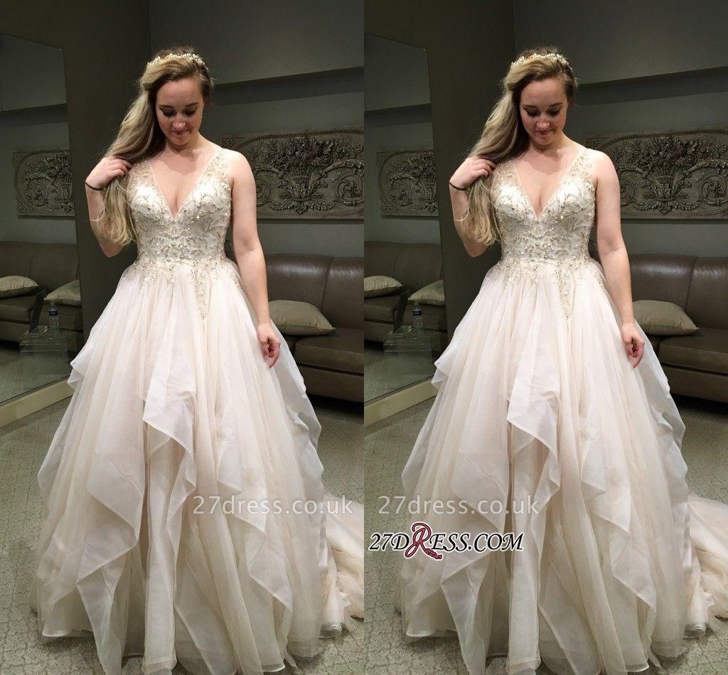 Elegant Sleeveless Long Evening Dress V-Neck Puffy Party Dress WIth Beadss BA8918
