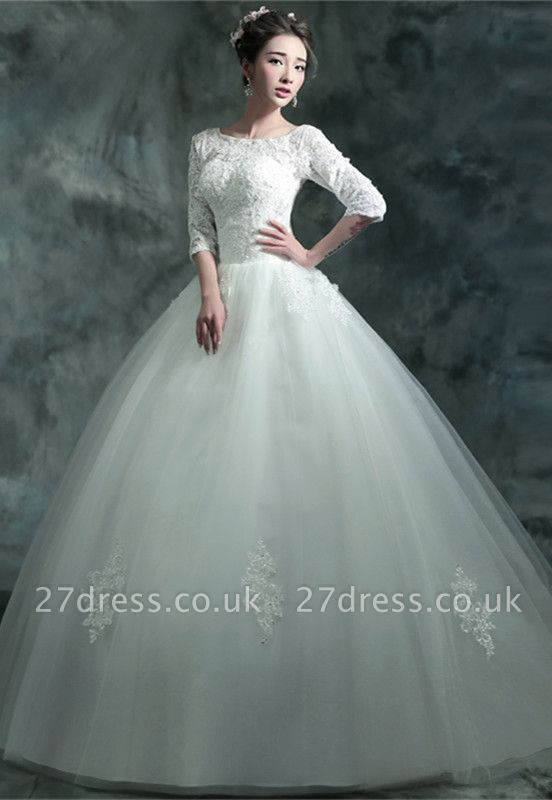 Modern Lace Appliques 3/4-Long Sleeve Wedding Dress Sweep Train