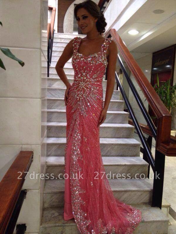 Stunning Straps Long Evening Dress UKes UK Floor Length Beadings Crystals