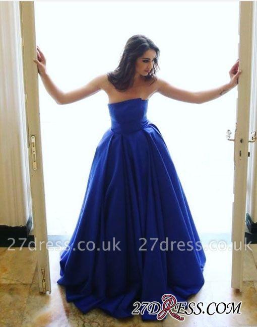 Simple Strapless Sleeveless Sexy Long A-line Blue Evening Dress UK