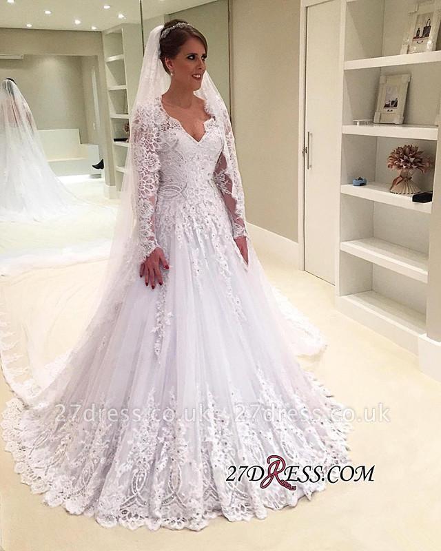 Appliques V-Neck A-Line Long-Sleeves Tulle Beadss Elegant Wedding Dress
