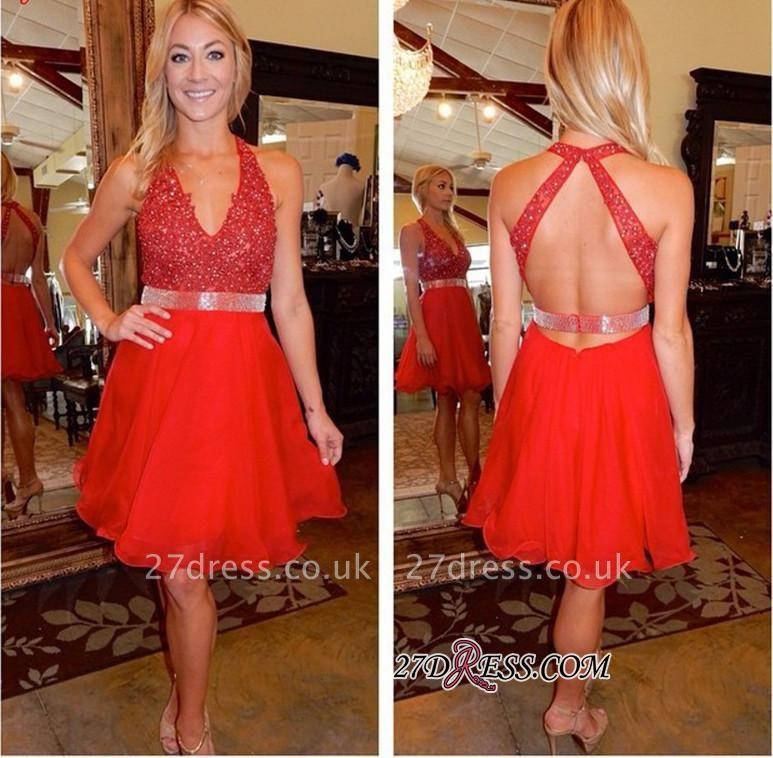 Beadings Short Red Sleeveless V-Neck Tulle Elegant Homecoming Dress UK