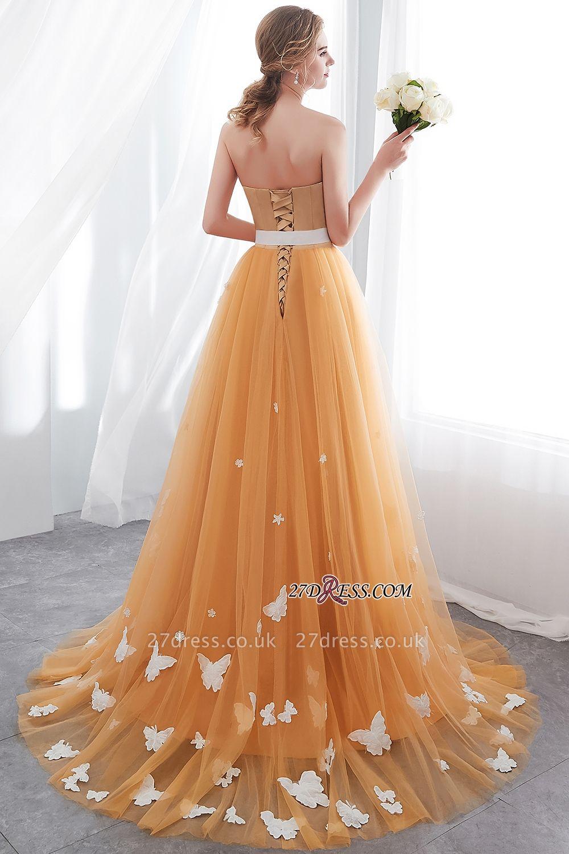 Gold Long Sheath Fashion Sash Floor-Length Evening Dress UKes UK
