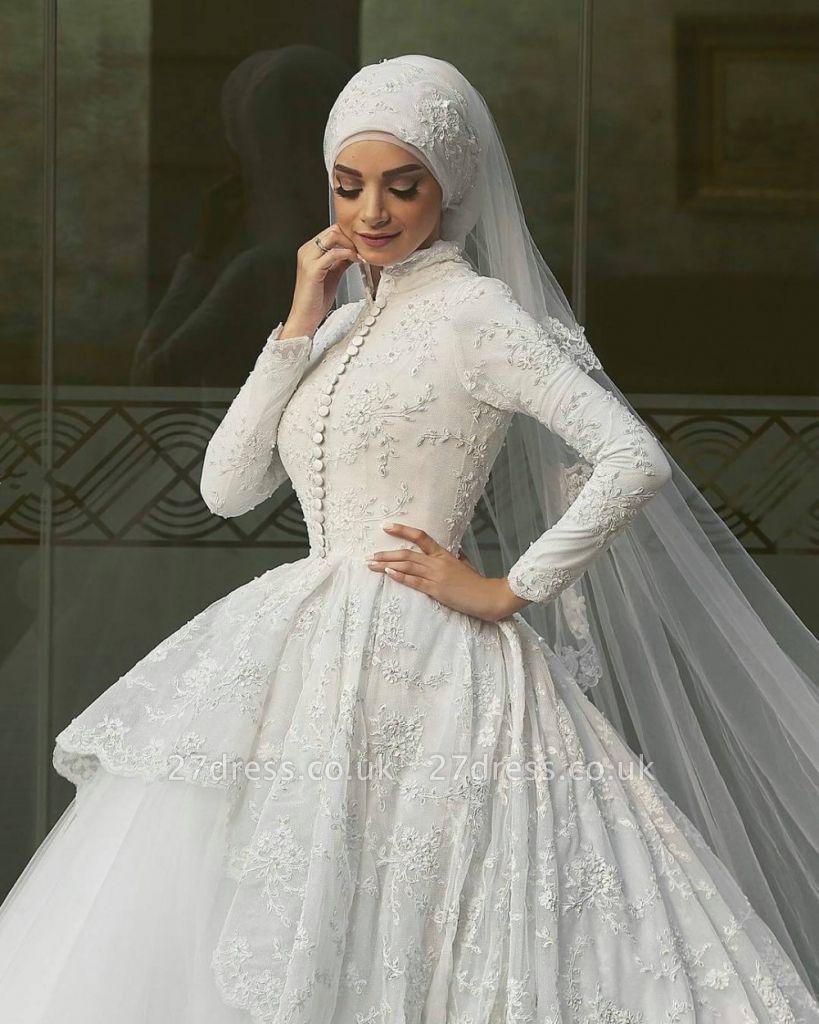 Elegant High Neck Wedding Dresses Uk Lace Long Sleeves Muslim Bridal Gowns 27dress Co Uk,Pakistani Wedding Maxi Dresses New Look