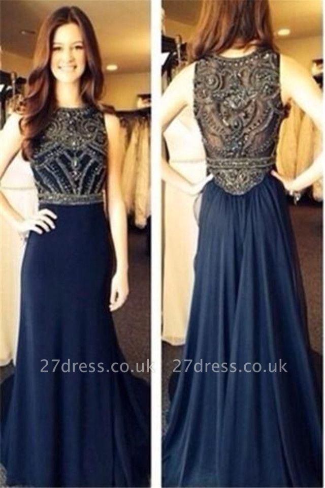 sleeveless navy prom Dress UKes UK floor length chiffon top Sheer Sexy party gowns with Beaded Rhinestones