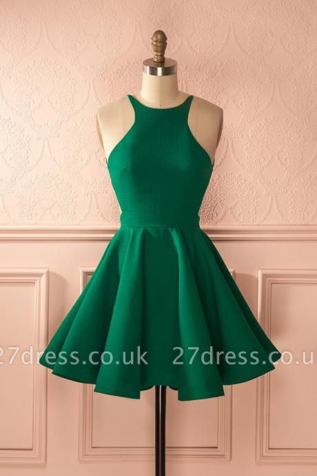 Sexy Sleeveless Green Homecoming Dress UK Backless Zipper Party Gowns