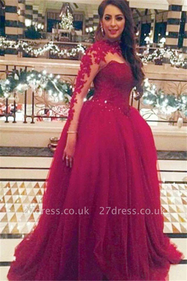 Newest Long Sleeve Princess Tulle Wedding Dress UK Appliques
