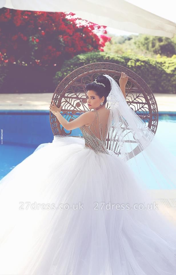 Gorgeous Beadss Tulle White Wedding Dress Ball Gown Straps Court Train