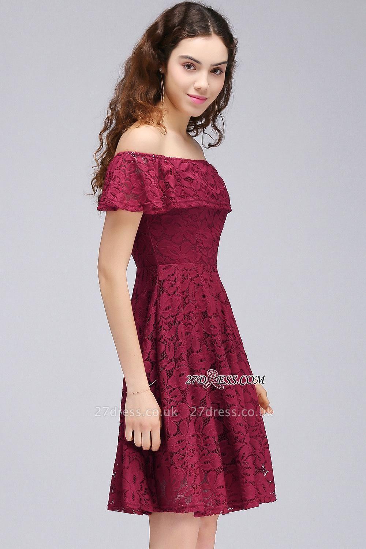 Sheath Burgundy Lace Short Off-the-Shoulder Homecoming Dress UKes UK
