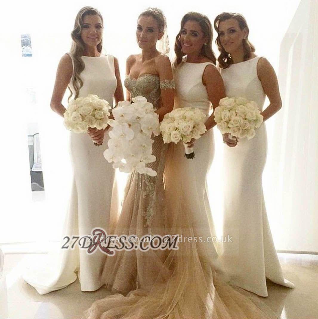 Sexy Bateau Sleeveless Column Bridesmaid Dress UK With Floor-length