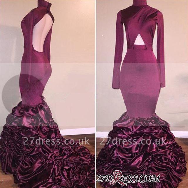 Ruffles Open-Back Long-Sleeves High-Neck Mermaid Newest Prom Dress UK