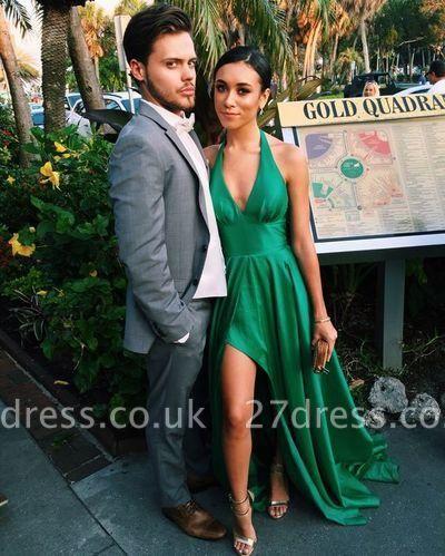 Elegant V-Neck A-Line Side-Slit Green Sleeveless Prom Dress UK BA5097
