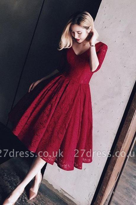 Sexy Half Sleeve Lace Short Prom Dress UK On sale Lace Party Dress UK BA8143